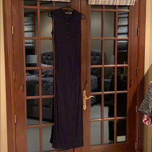 Navy Athleta maxi dress with buttons